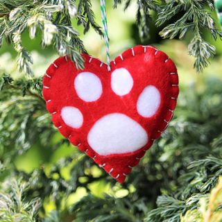 Christmas Heart Decoration.Pawprint Heart Decoration