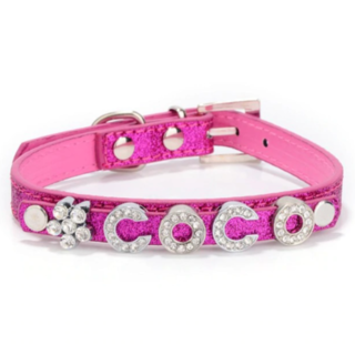 Pink Glitter Name Collar